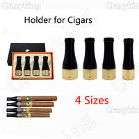 COHIBA 4 Size Gloss Antique Pure Copper Resin Travel Cigar Nozzle Tip Holder With Gift Box Best For Gift
