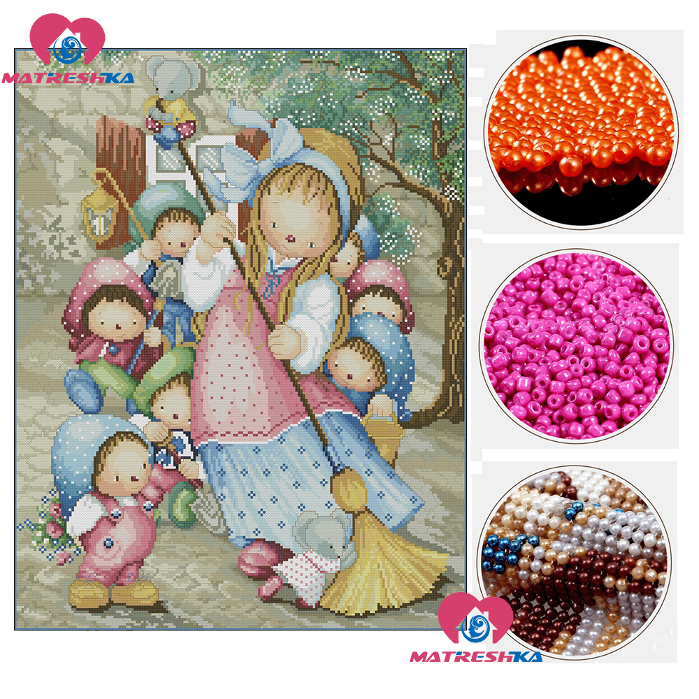 3d beads embroidery beaded cross stitch pattern beadwork crafts beads Snowwhite accessories pearl embroidery Partial embroidery