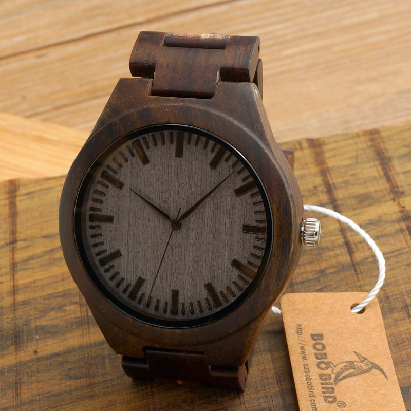 BOBO BIRD Full Round Vintage Ebony Wood Case Men Watch With Wood Face with Wood Strap Japanese Movement Quartz in Gift Box bobo bird bamboo wood quartz watch men women japanese majoy movement soft silicone strap casual ladies watch wristwatch for gift