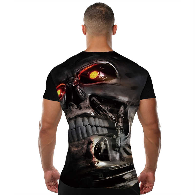 KYKU череп футболка мужская Черная футболка Забавные футболки скелет крутая 3d печать футболка крутая мужская одежда 2018 новый летний хип-хоп Топ