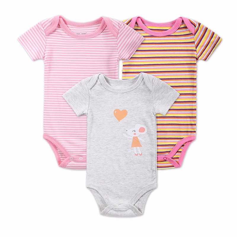 3 PCSLOT Baby Boy Clothes Newborn Baby Bodysuit Short Sleeved Cotton Baby Romper Toddler Underwear Infant Clothing Baby Outfit (12)