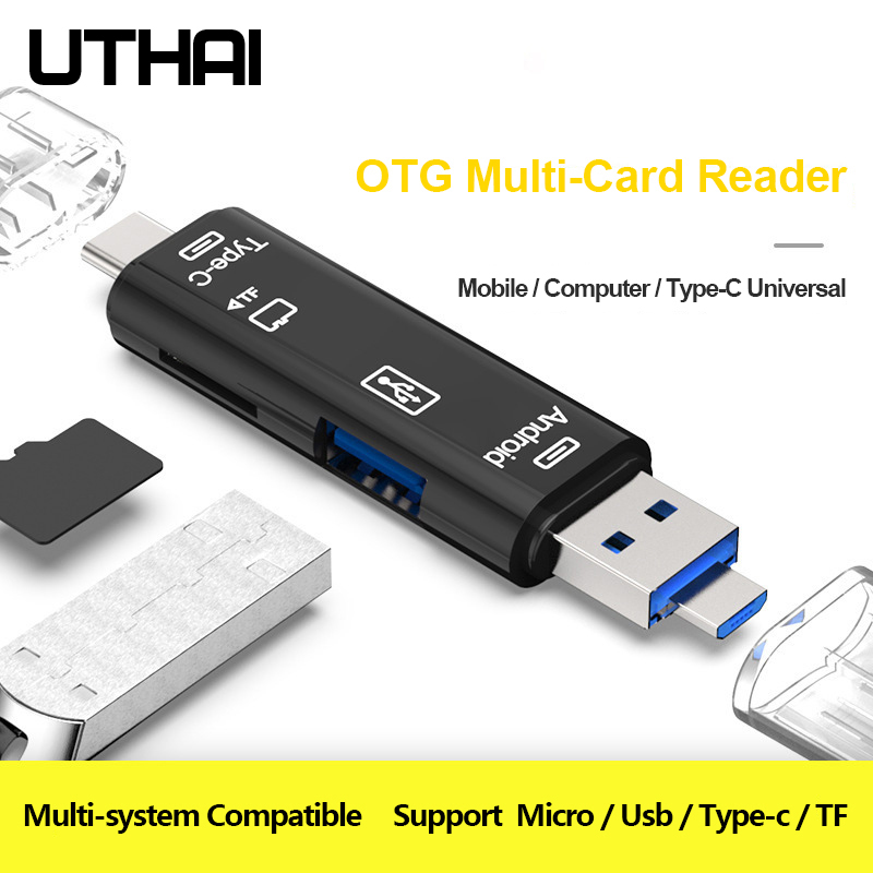 UTHAI C01 Type C/MicroUSB/USB 3In1 OTG Card Reader High-speed Universal OTG TF/USB For Android Computer Extension Adapter