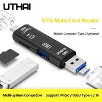 UTHAI C01 tipo C/MicroUSB/USB 3 en 1 lector de tarjetas OTG de alta velocidad Universal OTG TF/USB para adaptador de extensión de ordenador Android