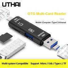 UTHAI C01 Tipo C/MicroUSB/USB Leitor de Cartão OTG 3In1 High-speed Universal OTG TF/USB para Android Computador Adaptador de Extensão