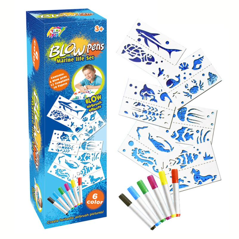 Blow Pens Markers Kids Coloured Non Toxic Pens Stencils Templates Air Spray D50