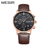 MEGIR Classical Watch Top Fashion Brand Male Clock Round Case Calendar Display Real Leather Strap Water