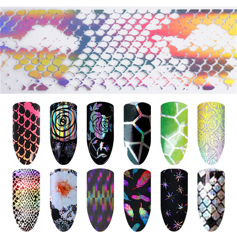 Holographic Nail Foil Starry Holo Laser 4*100cm Nail Art Transfer Sticker Snakeskin Manicure UV Gel DIY 3D Nail Art Decoration mikado stream 4 серебро 61 holo