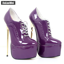 jialuowei 2018 New Sexy Fetish Luxury Women Pumps Pointed Toe 22CM High Gold Metal Heels Platform Lace-up Shoes Plus Size
