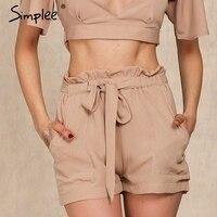 Simplee קיץ סגנון החדש שיפון מכנסיים קצרים Bow גבוה מותן חגורת כיס צבע אחיד מכנסיים קצרים מכנסי נשים מזדמנים