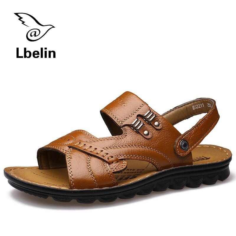 5b4cdc4d3 Summer Style Men Sandals Casual Men Leather Sandals Brand High Quality PU  Leather Sandals Men Brach Sandals Soft Home Slipper