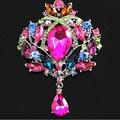 Multicolor de lujo Crystal gota Rhinestone colgante niñas joyería de la boda Pin broches grandes Diamante broche