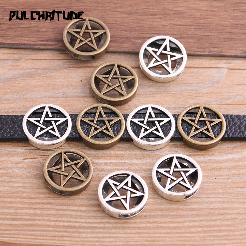 8pcs Two Color Pentagram Wheel Spacers Adapters Slider Spacer Jewelry Material Spacers For Jewelry Making For 10mm Leather Cord