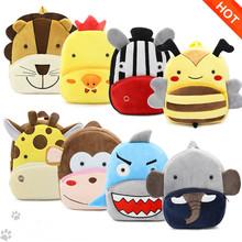 Dzieci 3D zwierzęta plecaki Baby Girls Boys Toddler Schoolbag dzieci Cartoon Lion Bee Bookbag przedszkole zabawki prezenty Szkoła torby tanie tanio School Bags 25cm 0 16 kg Zamek Aksamitu S4039 Wysokiej jakości pluszowa bawełna aksamit Dziewczyny Winmax 10 cm Odbitki zwierzęce