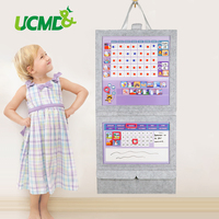 Magnetic Felt Fabric Chore Chart Learning Clock Toy Kid Weekly Calendar Reward Chart For Nursery Home Birthday Gift For Children