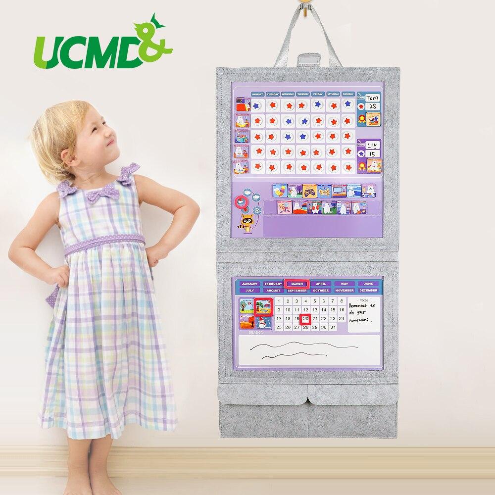 Tableau magnétique de corvée de tissu de feutre jouet d'horloge d'apprentissage tableau de récompense de calendrier hebdomadaire d'enfant pour le cadeau d'anniversaire de maison de pépinière pour des enfants