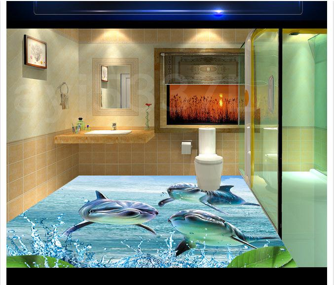 3D Pvc Floor Painting Custom Mural Wallpaper 2015 Only Beautiful Ocean  Spray Dolphins 3 D Blue Sea Floor Beauty Room Decoration In Wallpapers From  Home ... Amazing Ideas