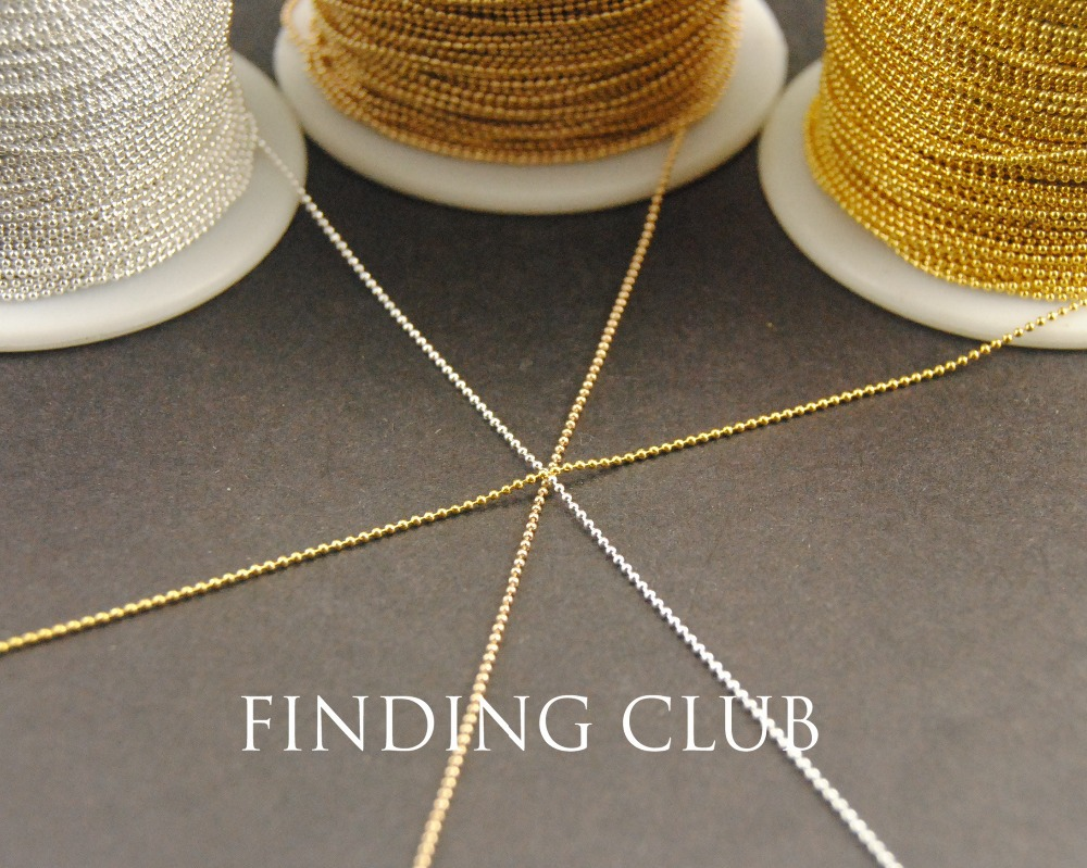 Новая заводская цена 32ft 1 мм серебро золото kc золото латунь металлический шар цепи для Цепочки и ожерелья Браслеты ювелирных изделий C61/ c62/C63 ...
