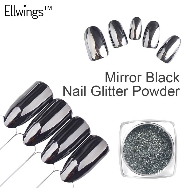 Ellwings 1g 3D Mirror Black Nail Glitter Powder Dazzling Chrome Pigment Dust Nail Design Varnish Black Base Gel Nail Polish