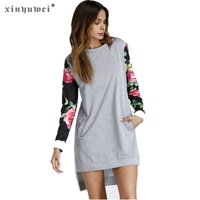 Xinyuwei Flower Print Long Sleeve Autumn Dress Fashion High Low Hem Female Pockets T Shirt Dress