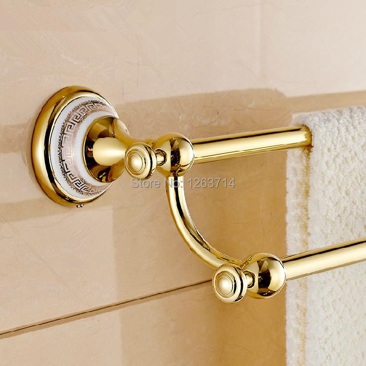 Free Shipping Solid Brass Made Golden Finish Double Towel Bar,Towel Holder,Towel Rack,Bathroom Accessories Products OG-27848C free shipping brass & stone golden towel rack gold towel bar towel holder cy008s