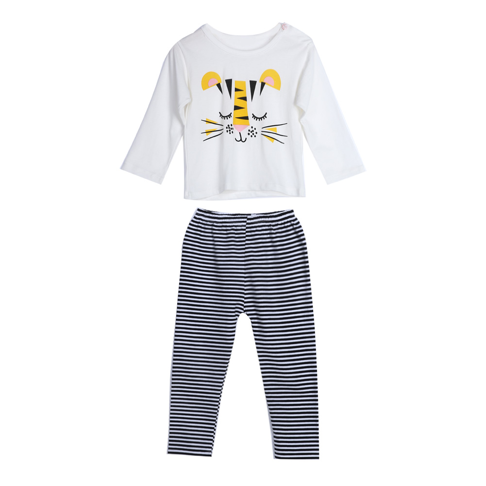 2pcs Baby Girls Tops+Pants Set Kids Cartoon Monkey Long Sleeve Shirt Tops Striped Pants Outfit Children's Clothing Set
