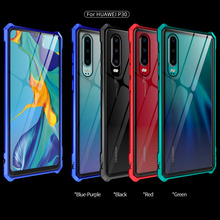 Shockproof Metal Case For Huawei P30 Pro Lite Phone Glass Back Cover Aluminum Bumper