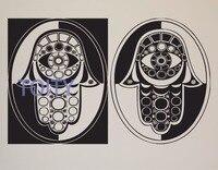 Hamsa 손 눈 abst 벽 스티커 홈 데칼 om yoga 명상 비닐 데칼 벽 예술 벽화 홈 장식 H57cm x W91cm