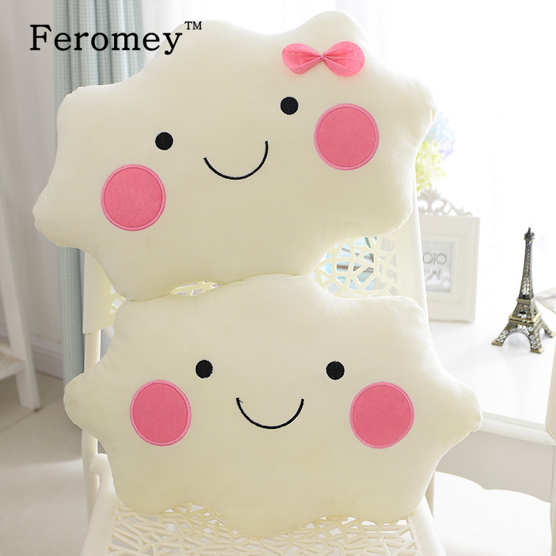 Kawaii Soft Smiley Face Bow Cloud Pillow Plush Toys Cotton Stuffed Cushion Plush Doll Toys White Pillow Children Kids Gift baby dolls for girls stuffed plush toys mini smiley cushions cushion brick macaquinho soft plush toys model cotton 703688