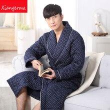Зимние пижамы хлопковое газовое мягкая Пижама длинный отрезок халаты небольшой отворот пижамы Домашняя одежда домашние мужские пижамы Бесплатная доставка