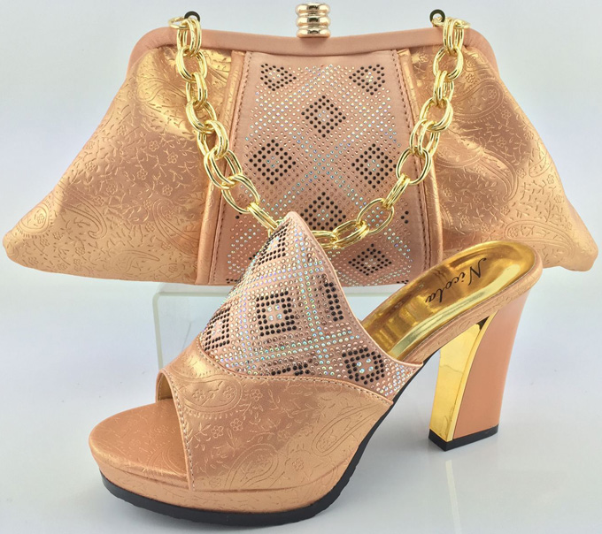 New Arrival High quality matching italian shoe and bag set,African Lady high heels to match women dress with PEACH Color MJY1-5