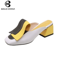 BONJOMARISA New Brand Fashion mixed-color Heels Slippers Women 2019 Summer Plus Size 32-45 Mules High Shoes Woman