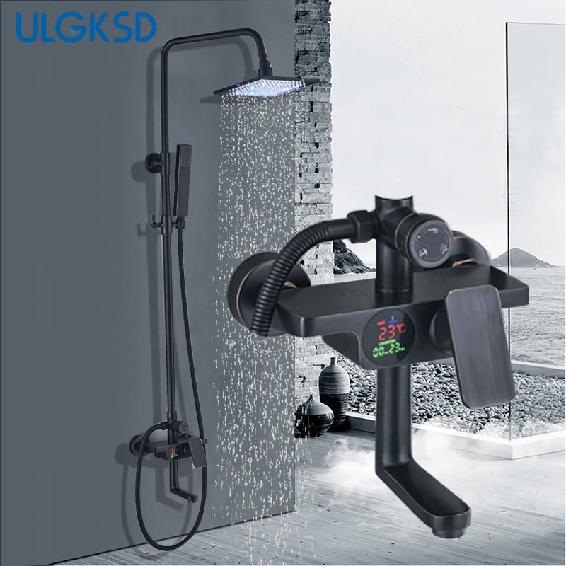 ULGKSD LED Shower Faucet Black Brass Rain Head Hot Cold Mixer Valve Bathroom Mixer Tap Bronze Faucets