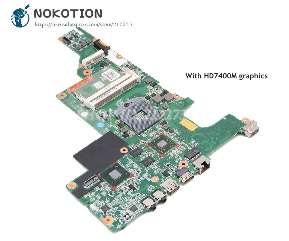 NOKOTION 646672-001 For HP CQ43 431 631 Laptop Motherboard HM65 DDR3 HD 7400M Video card