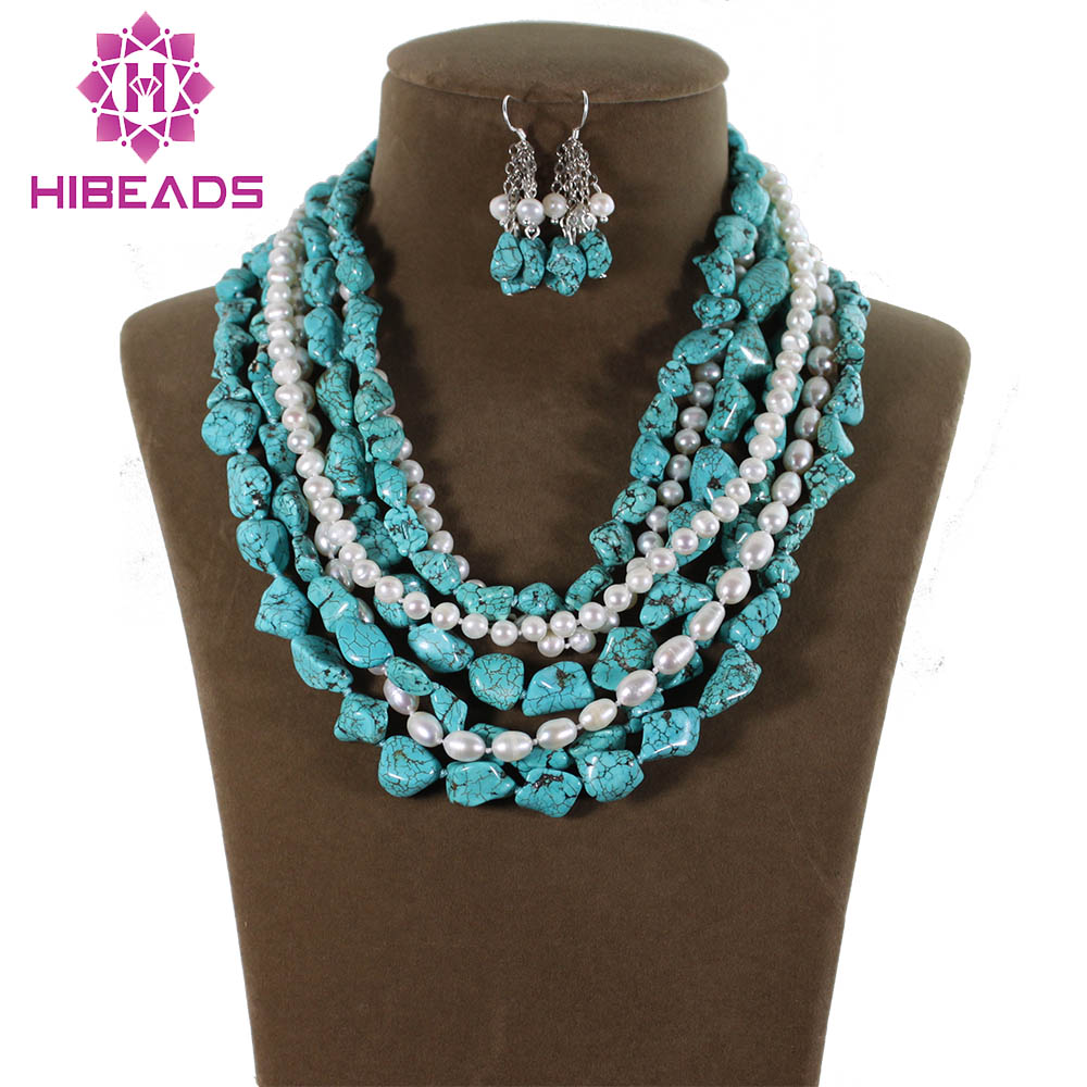 Triple Strand Simulated Turquoise Necklace Earring Set Orders Are Welcome. Fashion Jewelry