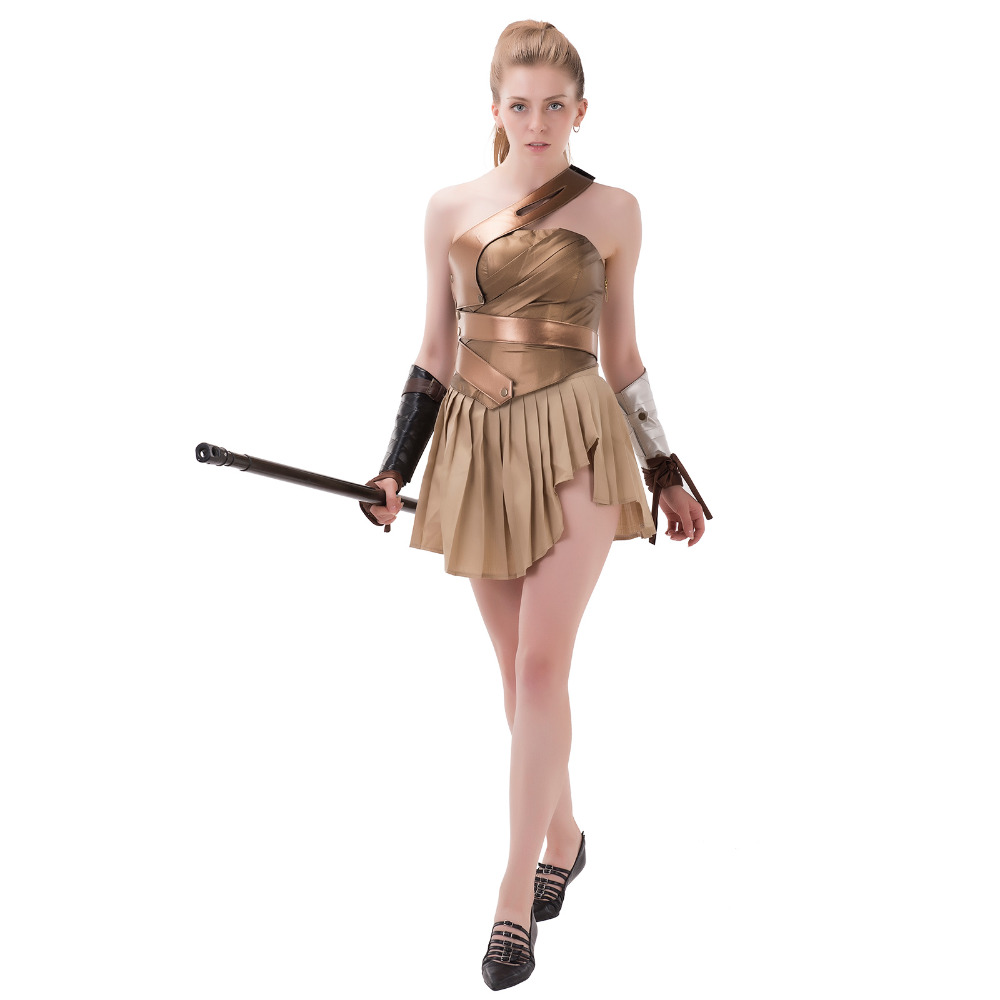 Wonder Woman Cosplay Costume Dress Skirt Top Armband Adult Women's Halloween Carnival Cosplay Costume