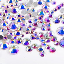 300Pcs/pack Crystal Clear AB Rhinestones Mix Sizes Non Hotfix Flatback Nail Rhinestoens 3D Gems Jewelry Nail Art Decoration(China)