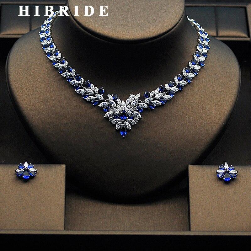 HIBRIDE Beautiful Women Bridal Jewelry Set With Colorful Cubic Zircon White Gold Color Necklace Set Parure