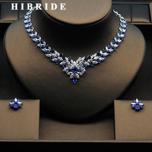 HIBRIDE Beautiful Women Bridal Jewelry Set With Colorful Cubic Zircon White Gold Color Necklace Set Parure Bijoux Femme N-275