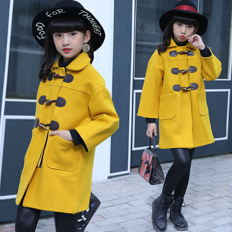 Girls woolen coat new fashion girls woolen coat thickening big childrens fashion casual trend woolen coatGirls woolen coat new fashion girls woolen coat thickening big childrens fashion casual trend woolen coat