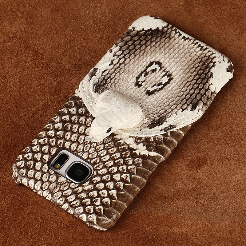 wangcangli brand phone case real snake head back cover phone shell For Samsung Galaxy S7 Edge full manual custom processing in Half wrapped Cases from Cellphones Telecommunications