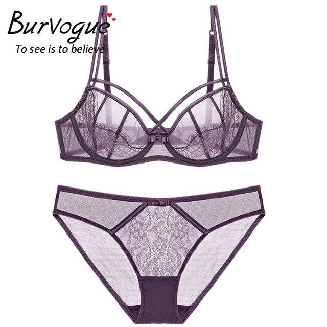 b96766c9ff Burvogue Sexy Lace Bra Set Deep V Underwire Push Up Bralette Brief Sets  Lingerie Transparent Underwear Women Bra Panties Set