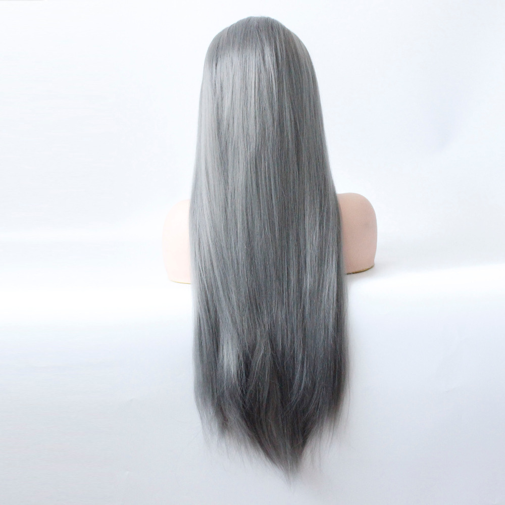 Long Gray Straight Synthetic Lace Front Wig Dark Grey Soft Natural Hairline Heat Resistant Glueless Synthetic Hair Wigs-7