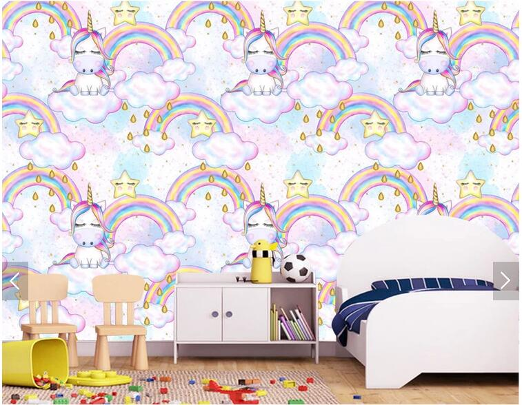 Custom papel pared infantil, fantasy rainbow unicorn wallpaper ...