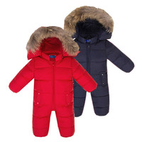 Animal Fur Winter Baby Girl Romper Warm Snowsuits Duck Jackets 90% White Duck One Piece Boys Jumpsuits Long Sleeves Kids Clothes