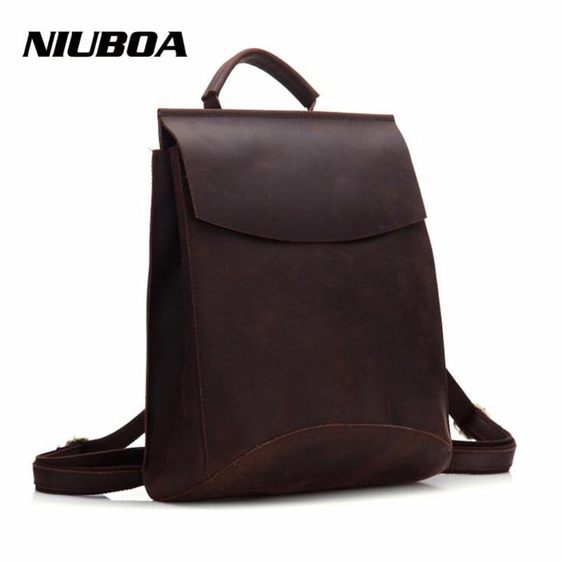 NIUBOA 100% Genuine Leather Backpack Woman's Crazy Horse Cowhide School Laptop Daily Backpack Top Quality Female Handcraft Bags niuboa 100
