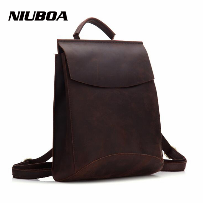 NIUBOA 100% Genuine Leather Backpack Woman's Crazy Horse Cowhide School Laptop Daily Backpack Top Quality Female Handcraft Bags