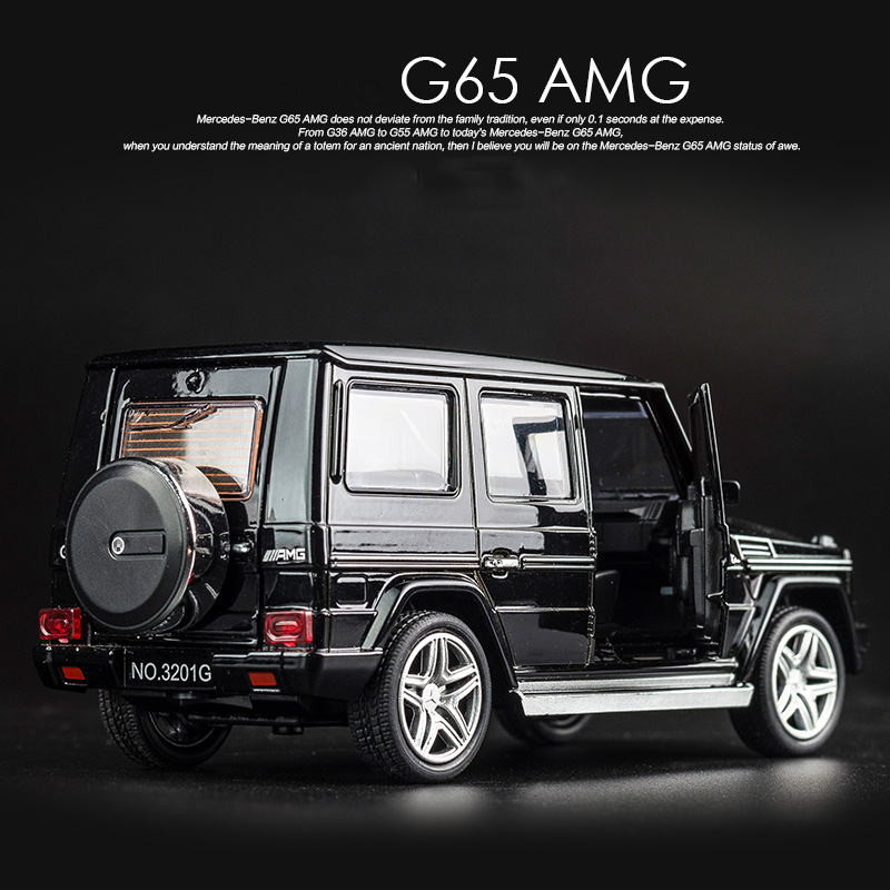 KIDAMI 1:32 Alloy G65 SUV AMG Diecast Vehicle Model Toy Car Pull Back Car With Sound Light Gift Collection For Boys HOT WEELS