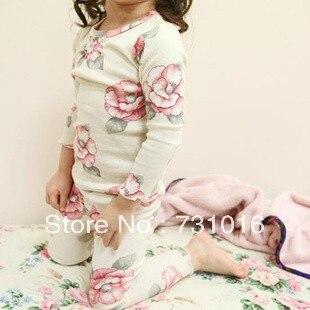 0c3cffb7e8db pijamas kids flower pure cotton clothes home sleepwear children s ...