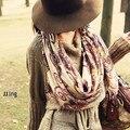 Lenços voile de algodão padrão geométrico Retro Bohemian estilo quente suave envoltório do lenço do xaile inverno