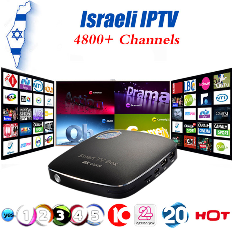 Israeli IPTV CSA96 Android TV Box High Performance 64bit ARM A72 CPU+ARM Mali-T864 GPU 4K 4G/32G Israel Arabic World IPTV Box raphael israeli dabry de thiersant